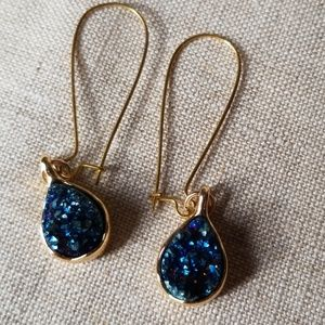 Beautiful blue cluster drop earrings